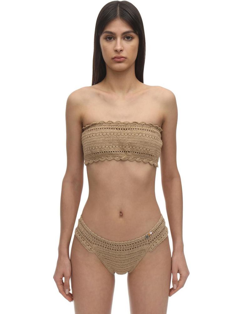 SHE MADE ME Ila Crochet Bandeau Bikini Top in sand