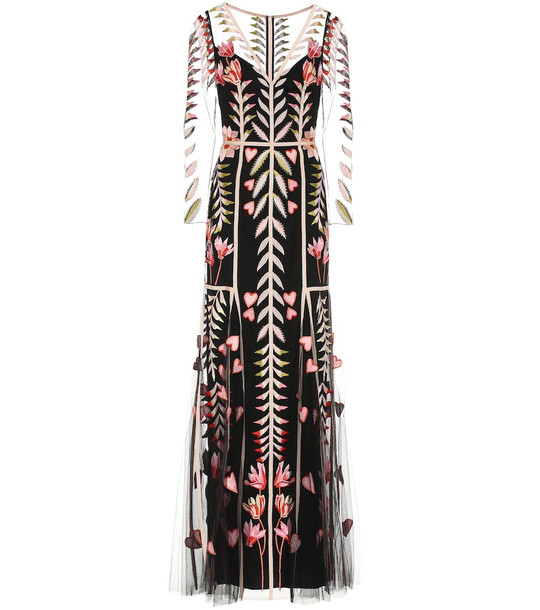 Temperley London Rosy floral organza gown in black