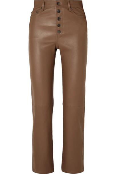 Joseph - Den Leather Straight-leg Pants - Tan