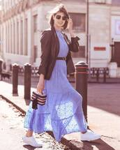 dress,maxi dress,blue dress,h&m,white sneakers,handbag,black blazer,belt