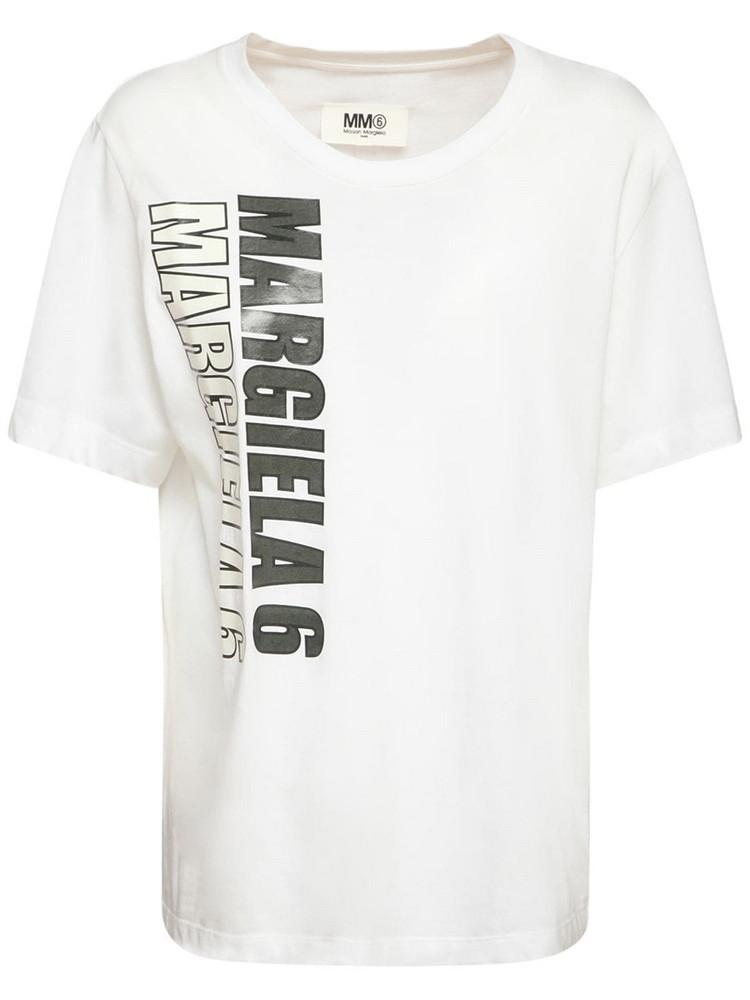 MM6 MAISON MARGIELA Printed Cotton Jersey T-shirt in black / white