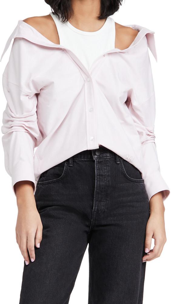 alexanderwang.t Off Shoulder Button Down Shirt in pink