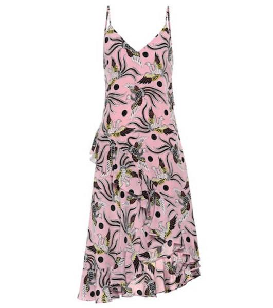 Kenzo Printed silk slip dress in pink