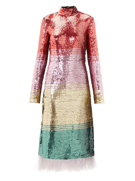 La Doublej - Feather-trim Sequinned Dress - Womens - Pink Multi