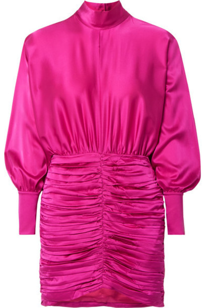 Retrofête - Barbara Ruched Silk-blend Charmeuse Mini Dress - Fuchsia
