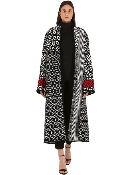 HAIDER ACKERMANN Acrylic Blend Intarsia Knit Coat in black / white