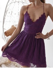 dress,purple,lace,mesh,v neck,backless