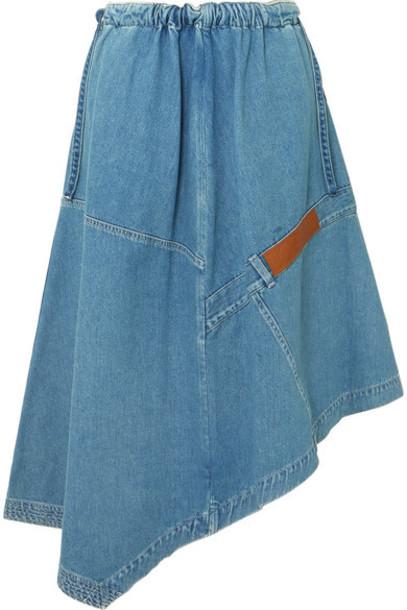 Loewe - Asymmetric Leather-trimmed Denim Midi Skirt - Indigo