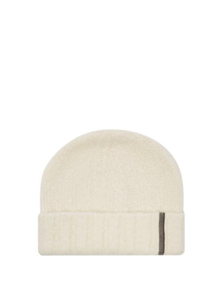 Brunello Cucinelli - Beaded Cashmere Blend Beanie Hat - Womens - White