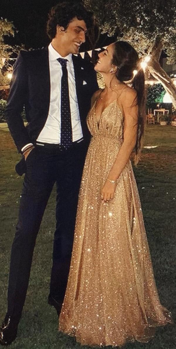 dress gold prom dress sparkle champagne dress long prom dress