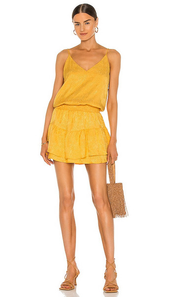 krisa Smocked Waist Cami Mini Dress in Yellow in gold