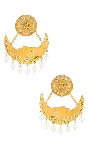 Mercedes Salazar White Moon Clip On Earrings in Metallic Gold
