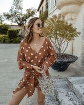 dress,mini dress,polka dots,long sleeve dress,v neck dress,bucket bag