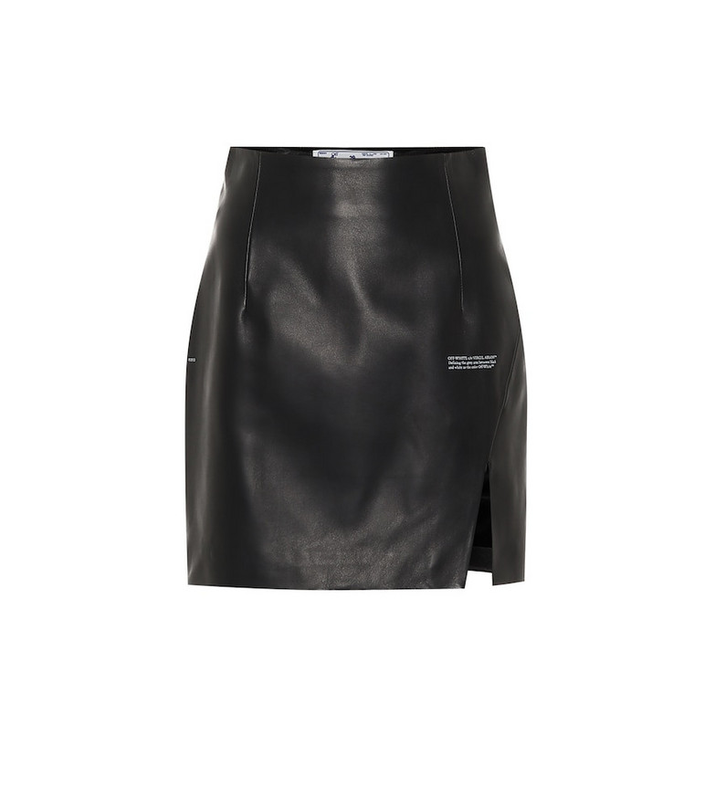 Off-White High-rise leather miniskirt in black
