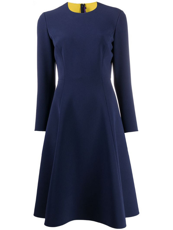 Ralph Lauren Collection flared crew neck dress in blue
