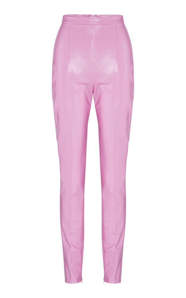 Alex Perry James High-Waist Vinyl Pants in pink