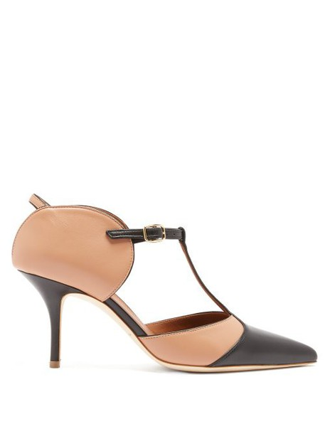 Malone Souliers - Imogen T Bar Leather Mules - Womens - Black Nude