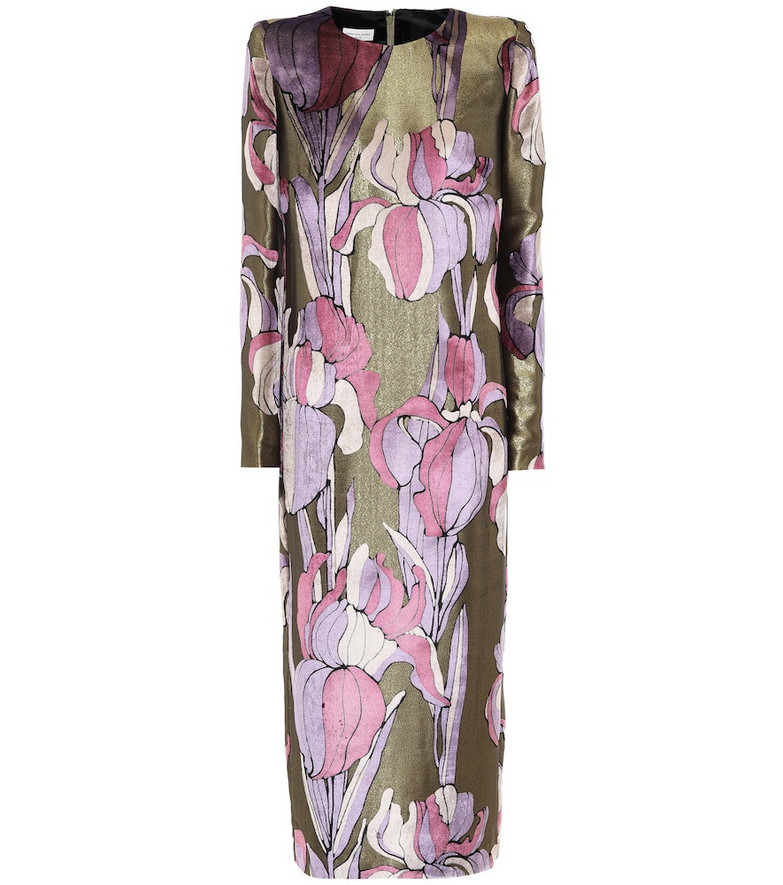 Dries Van Noten Floral metallic midi dress in gold