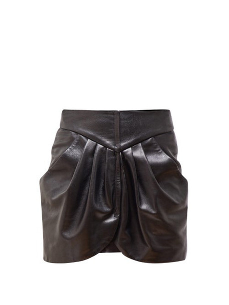 Isabel Marant - Beliah Pleated Leather Mini Skirt - Womens - Black