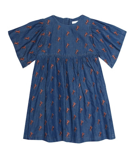 Chloé Kids Embroidered denim dress in blue