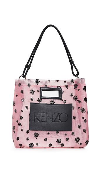 KENZO Mesh Roses Tote Bag in rose