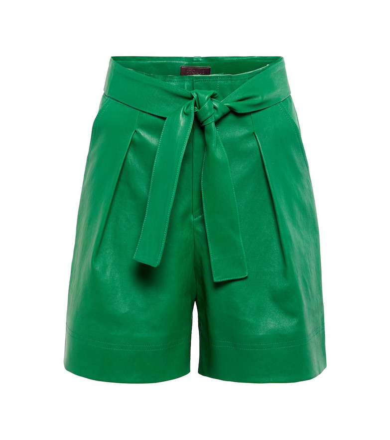 STOULS Exclusive to Mytheresa – Eloise pleated leather shorts in green