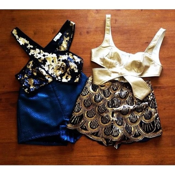 shorts Sequin shorts sequins gold sequins party shorts blouse