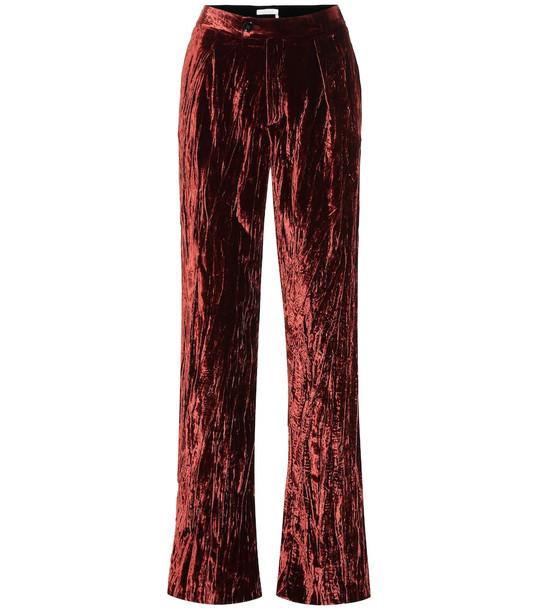 Chloé High-rise wide-leg velvet pants in brown