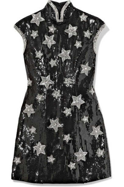 Andrew Gn - Embellished Sequined Silk-blend Georgette Mini Dress - Black