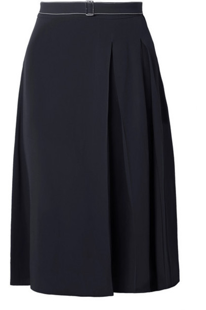 Marni - Belted Pleated Crepe Skirt - Navy