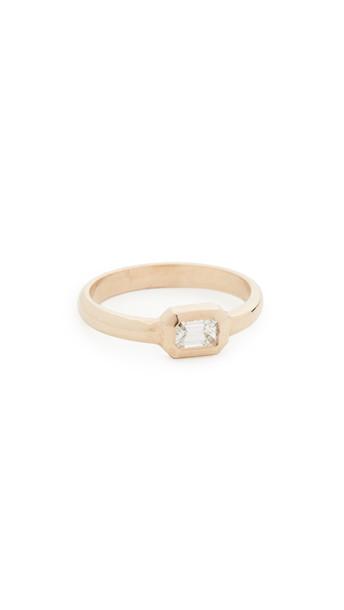 Zoe Chicco 14k Gold Bezel Set Emerald Cut Diamond Ring