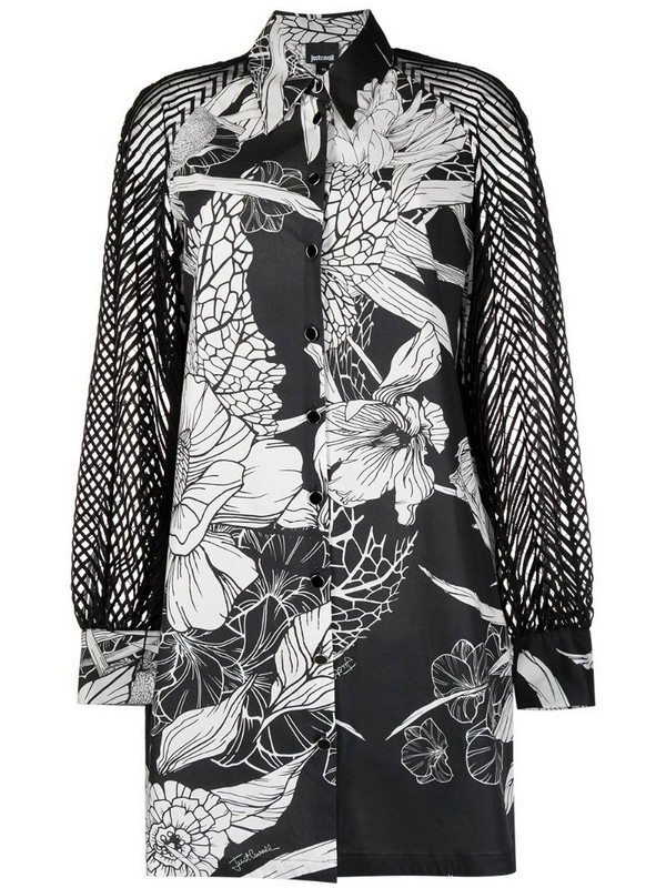 Just Cavalli perforated-sleeve shirt dress in black