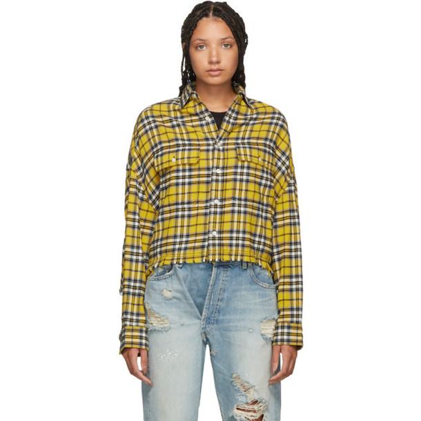 R13 Yellow Cropped Work Shirt
