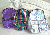 bag,fashion,trendy,silver,purple,backpack,monochrome,rainbow,metallic,cool,teenagers,back to school,it girl shop