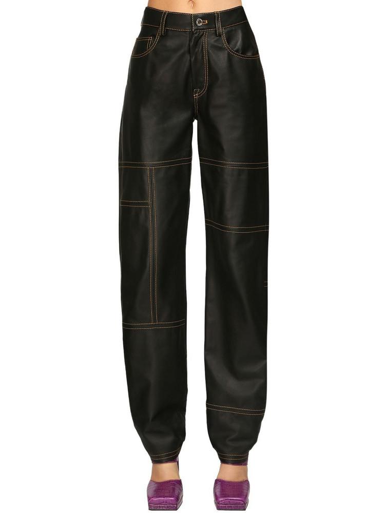 SUNNEI High Waist Leather Pants in black