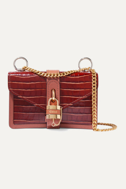 Chloé Chloé - Aby Chain Small Croc-effect Leather Shoulder Bag - Brown