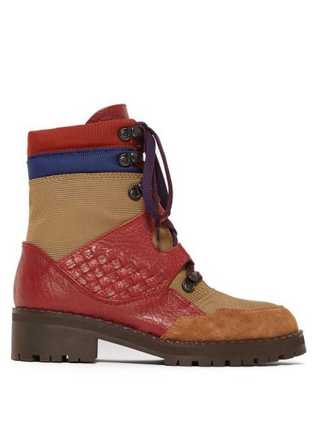 Bottega Veneta - Intrecciato Lace Up Leather Canvas Boots - Womens - Khaki Multi