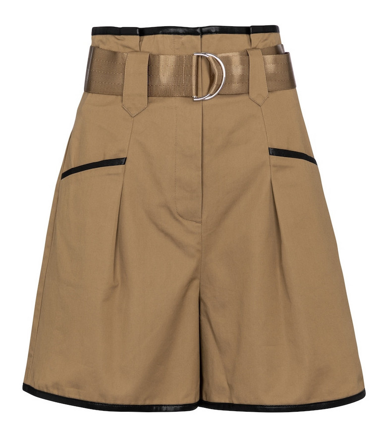 Self-Portrait High-rise belted shorts in brown