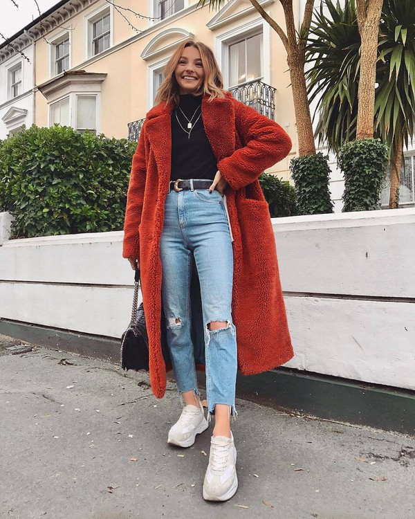 coat teddy bear coat long coat topshop sneakers cropped jeans ripped jeans high waisted jeans black bag black belt black turtleneck top necklace