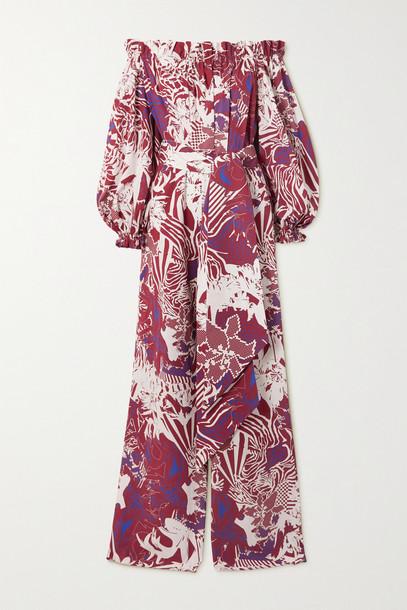 HALPERN - Off-the-shoulder Printed Cotton-poplin Jumpsuit - Burgundy