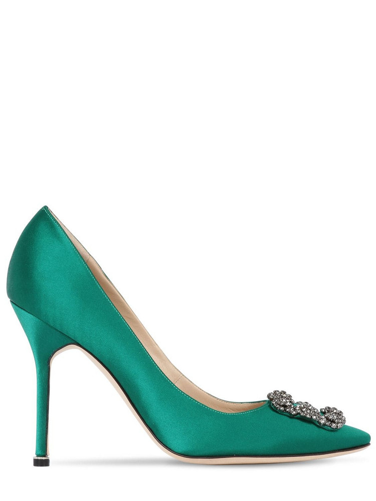 MANOLO BLAHNIK 105mm Hangisi Swarovski Silk Satin Pumps in emerald