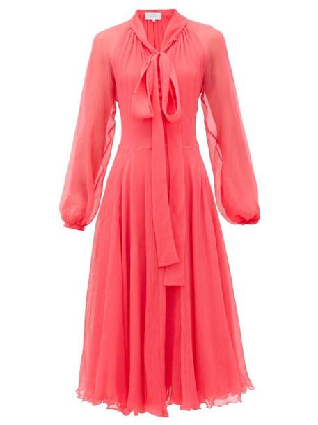 Luisa Beccaria - Pussy-bow Silk Plissé-chiffon Midi Dress - Womens - Pink
