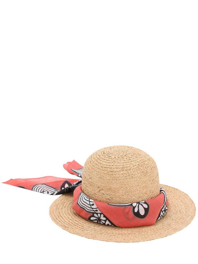 BORSALINO Printed Bandana Straw Hat in natural / red