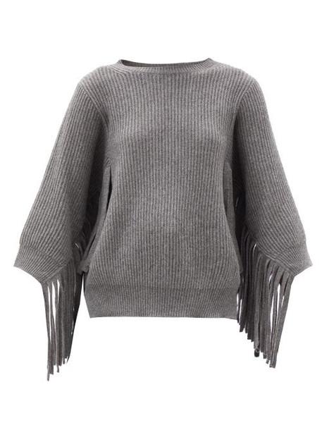 Stella Mccartney - Fringed Rib-knitted Cashmere-blend Sweater - Womens - Grey