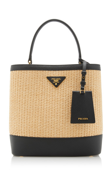 Prada Large Leather-Trimmed Raffia Bucket Bag in neutral