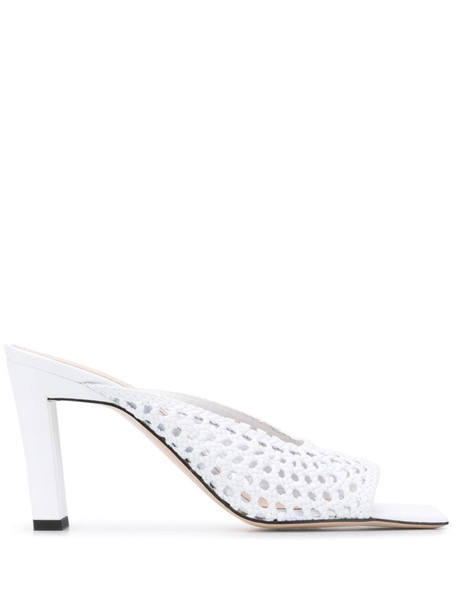 Wandler pointed toe mules in white