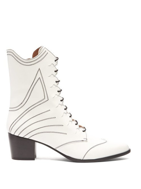 leather boots lace leather white shoes