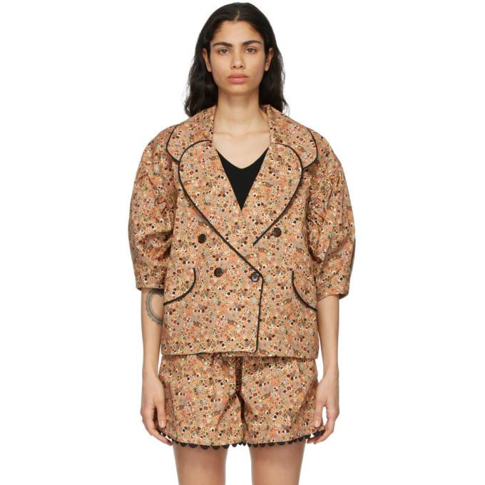 Kika Vargas Tan Johanna Short Sleeve Blazer in camel