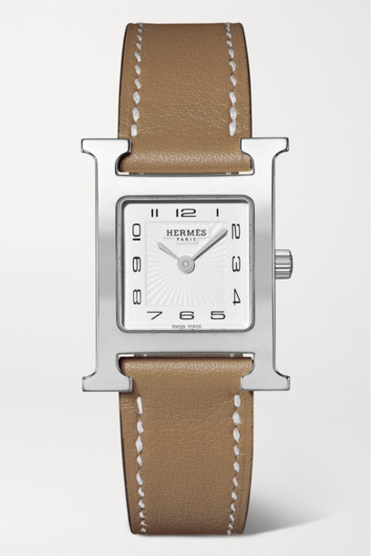 Hermès Timepieces - Heure H 21mm Small Stainless Steel And Leather Watch - Taupe