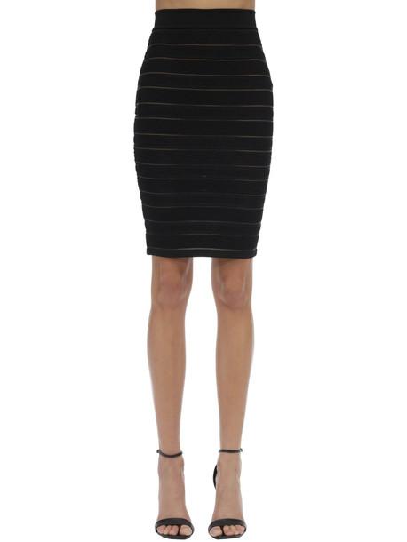 BALMAIN High Waist Stretch Knit Pencil Skirt in black